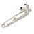 Clear Crystal Double Butterfly Safety Pin Brooch In Silver Tone - 80mm L - view 4