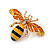 Small Funky Yellow/ Black/ Orange Bee Brooch In Gold Tone - 35mm Wide - view 3