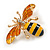 Small Funky Yellow/ Black/ Orange Bee Brooch In Gold Tone - 35mm Wide - view 4