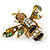 Vintage Inspired Crystal Enamel Bee Brooch in Gold Tone - 45mm Across