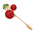Gold Tone Red Crystal Green Enamel Cherry Lapel, Hat, Suit, Tuxedo, Collar, Scarf, Coat Stick Brooch Pin - 63mm Long - view 2