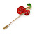 Gold Tone Red Crystal Green Enamel Cherry Lapel, Hat, Suit, Tuxedo, Collar, Scarf, Coat Stick Brooch Pin - 63mm Long - view 3