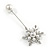 Silver Tone Clear Crystal White Glass Pearl Snowflake Hat, Suit, Tuxedo, Collar, Scarf, Coat Stick Brooch Pin - 85mm L