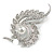 Clear Crystal Faux White Pearl Fancy Floral Brooch In Silver Tone - 67mm Tall - view 3