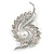 Clear Crystal Faux White Pearl Fancy Floral Brooch In Silver Tone - 67mm Tall
