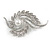 Clear Crystal Faux White Pearl Fancy Floral Brooch In Silver Tone - 67mm Tall - view 4