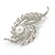 Clear Crystal Faux White Pearl Fancy Floral Brooch In Silver Tone - 67mm Tall - view 2