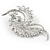 Clear Crystal Faux White Pearl Fancy Floral Brooch In Silver Tone - 67mm Tall - view 5