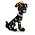 Gold Tone Black/ White Enamel Dalmatian Puppy Dog Brooch - 40mm Tall - view 6