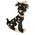 Gold Tone Black/ White Enamel Dalmatian Puppy Dog Brooch - 40mm Tall - view 2