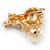 Cute Crystal, Purple Enamel Puppy Dog Brooch In Gold Tone Metal - 35mm Across - view 2