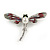 Red/ Grey Enamel Clear Crystal, Faux Pearl Dragonfly Brooch In Silver Tone Metal - 50mm Across - view 2
