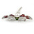 Red/ Grey Enamel Clear Crystal, Faux Pearl Dragonfly Brooch In Silver Tone Metal - 50mm Across - view 3