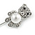 Silver Tone Clear Crystal, Faux Glass Pearl Bear Lapel, Hat, Suit, Tuxedo, Collar, Scarf, Coat Stick Brooch Pin - 60mm L - view 3