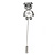 Silver Tone Clear Crystal, Faux Glass Pearl Bear Lapel, Hat, Suit, Tuxedo, Collar, Scarf, Coat Stick Brooch Pin - 60mm L - view 2