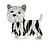 Black/ White Enamel Yorkie Dog Brooch In Sivler Tone Metal - 35mm Across