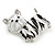 Black/ White Enamel Yorkie Dog Brooch In Sivler Tone Metal - 35mm Across - view 2
