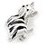 Black/ White Enamel Yorkie Dog Brooch In Sivler Tone Metal - 35mm Across - view 3