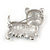Black/ White Enamel Yorkie Dog Brooch In Sivler Tone Metal - 35mm Across - view 4