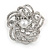 Diamante Faux Pearl Flower Scarf Pin/ Brooch In Silver Tone - 35mm D
