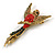 Vintage Inspired Exotic Crystal Bird Brooch In Aged Gold Tone Metal - 70mm Tall - view 2