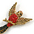 Vintage Inspired Exotic Crystal Bird Brooch In Aged Gold Tone Metal - 70mm Tall - view 3