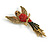 Vintage Inspired Exotic Crystal Bird Brooch In Aged Gold Tone Metal - 70mm Tall - view 4