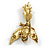 Vintage Inspired Exotic Crystal Bird Brooch In Aged Gold Tone Metal - 70mm Tall - view 5