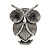 Vintage Inspired Crystal Textured Owl Brooch In Aged Silver Tone - 50mm Tall