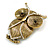 Vintage Inspired Crystal Textured Owl Brooch In Aged Gold Tone - 50mm Tall - view 2