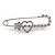 Clear Crystal Heart and Flower Safety Pin Brooch In Silver Tone - 70mm L - view 2