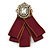 Vintage Inspired/ Retro Men And Women Universal Ox Blood Fabric Ribbon Pre-Tied Bow Tie Collar with Pearl and Glass Detailing In Bronze Tone - 11cm L
