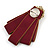 Vintage Inspired/ Retro Men And Women Universal Ox Blood Fabric Ribbon Pre-Tied Bow Tie Collar with Pearl and Glass Detailing In Bronze Tone - 11cm L - view 6