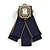 Vintage Inspired/ Retro Men And Women Universal Dark Blue Fabric Ribbon Pre-Tied Bow Tie Collar with Pearl and Glass Detailing In Bronze Tone - 11cm L