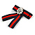 Vintage/ Retro Men And Women Universal Red/ Dark Blue Stripy Fabric Ribbon Pre-Tied Bow Tie Collar with Clear Crystal Detailing - 12cm L - view 2
