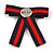 Vintage/ Retro Men And Women Universal Red/ Dark Blue Stripy Fabric Ribbon Pre-Tied Bow Tie Collar with Clear Crystal Detailing - 12cm L - view 5