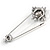 Victorian Style Grey Crystal Safety Pin Brooch In Aged Silver Tone Metal - 70mm Long - view 4