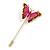 Gold Tone Deep Pink/ Orange Gold Enamel Crystal Butterfly Lapel, Hat, Suit, Tuxedo, Collar, Scarf, Coat Stick Brooch Pin - 63mm Long