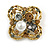 Vintage Inspired Crystal, Pearl Floral Brooch In Antique Gold Tone Metal - 45mm Diameter - view 2