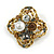 Vintage Inspired Crystal, Pearl Floral Brooch In Antique Gold Tone Metal - 45mm Diameter - view 1