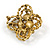 Vintage Inspired Crystal, Pearl Floral Brooch In Antique Gold Tone Metal - 45mm Diameter - view 5