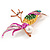 Exotic Multicoloured Enamel Crystal Bird Brooch In Gold Tone Metal - 65mm Tall - view 2
