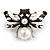 Striking Enamel Crystal, Pearl Bead Bumble Bee Brooch In Silver Tone Metal (Black/ White) - 55mm Across