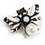 Striking Enamel Crystal, Pearl Bead Bumble Bee Brooch In Silver Tone Metal (Black/ White) - 55mm Across - view 2