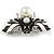 Striking Enamel Crystal, Pearl Bead Bumble Bee Brooch In Silver Tone Metal (Black/ White) - 55mm Across - view 3