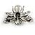 Striking Enamel Crystal, Pearl Bead Bumble Bee Brooch In Silver Tone Metal (Black/ White) - 55mm Across - view 4