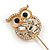 Gold Tone Clear Crystal Owl Lapel, Hat, Suit, Tuxedo, Collar, Scarf, Coat Stick Brooch Pin - 65mm L - view 2