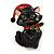 Xmas Christmas Black Enamel Cat Kitty Brooch In Gold Tone - 40mm Tall - view 5