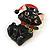 Xmas Christmas Black Enamel Cat Kitty Brooch In Gold Tone - 40mm Tall - view 2