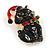 Xmas Christmas Black Enamel Cat Kitty Brooch In Gold Tone - 40mm Tall - view 3